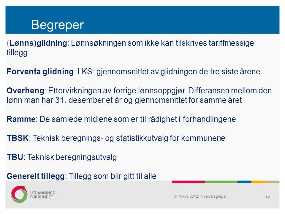 Begreper Tariffkurs 2012: Noen begrepers5 (Lønns)glidning: Lønnsøkningen som ikke kan tilskrives tariffmessige tillegg Forventa glidning: I KS: gjenno