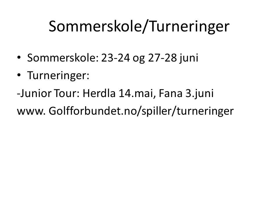 Sommerskole/Turneringer • Sommerskole: 23-24 og 27-28 juni • Turneringer: -Junior Tour: Herdla 14.mai, Fana 3.juni www. Golfforbundet.no/spiller/turne