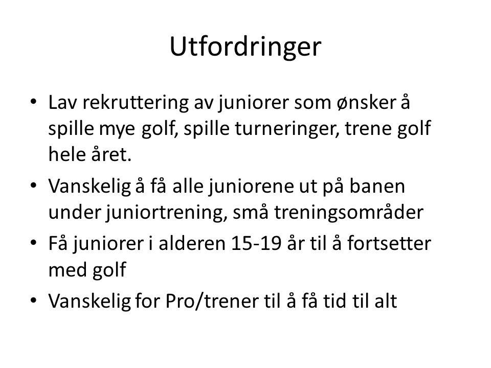 Utfordringer • Lav rekruttering av juniorer som ønsker å spille mye golf, spille turneringer, trene golf hele året. • Vanskelig å få alle juniorene ut