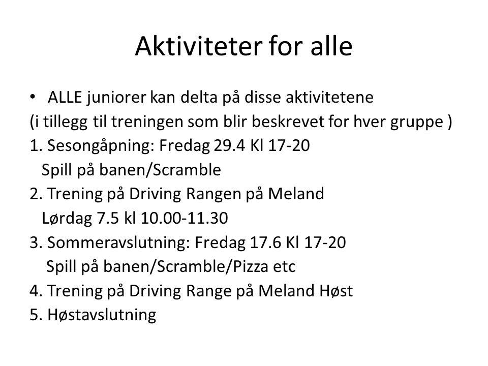 Aktiviteter for alle • ALLE juniorer kan delta på disse aktivitetene (i tillegg til treningen som blir beskrevet for hver gruppe ) 1. Sesongåpning: Fr