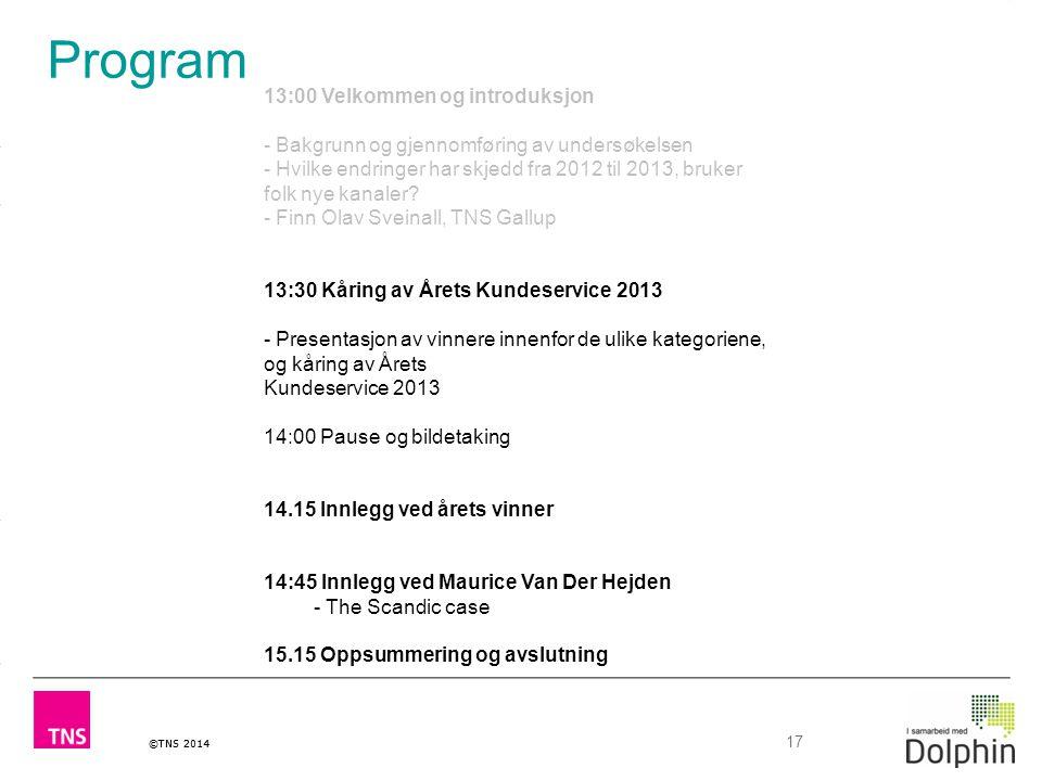 ©TNS 2014 17 Program 13:00 Velkommen og introduksjon - Bakgrunn og gjennomføring av undersøkelsen - Hvilke endringer har skjedd fra 2012 til 2013, bru