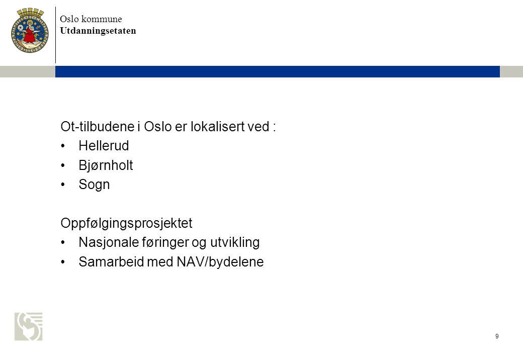 Oslo kommune Utdanningsetaten Ot-tilbudene i Oslo er lokalisert ved : •Hellerud •Bjørnholt •Sogn Oppfølgingsprosjektet •Nasjonale føringer og utviklin