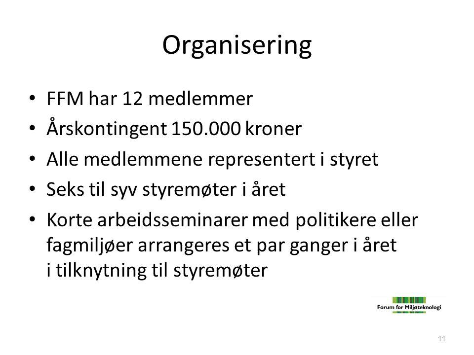 Organisering • FFM har 12 medlemmer • Årskontingent 150.000 kroner • Alle medlemmene representert i styret • Seks til syv styremøter i året • Korte ar