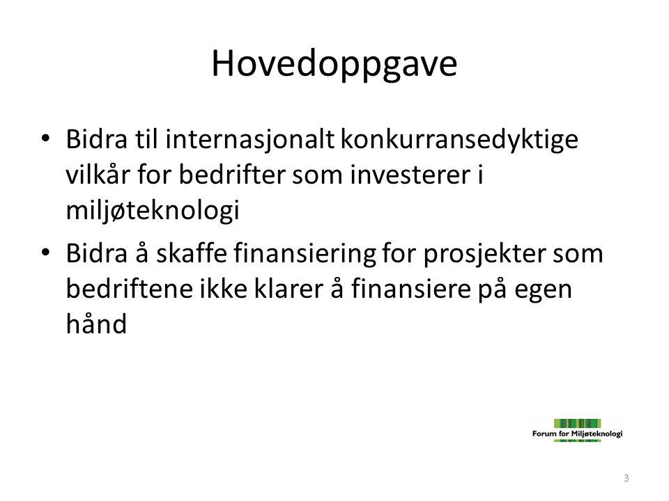 Hovedoppgave • Bidra til internasjonalt konkurransedyktige vilkår for bedrifter som investerer i miljøteknologi • Bidra å skaffe finansiering for pros