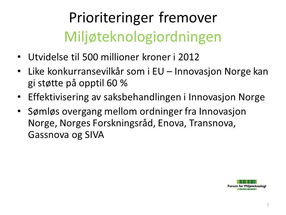 Prioriteringer fremover Miljøteknologiordningen • Utvidelse til 500 millioner kroner i 2012 • Like konkurransevilkår som i EU – Innovasjon Norge kan g
