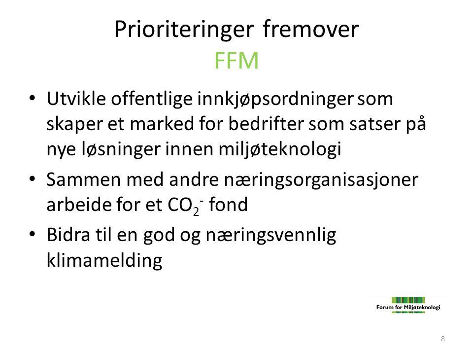 Prioriteringer fremover FFM • Utvikle offentlige innkjøpsordninger som skaper et marked for bedrifter som satser på nye løsninger innen miljøteknologi