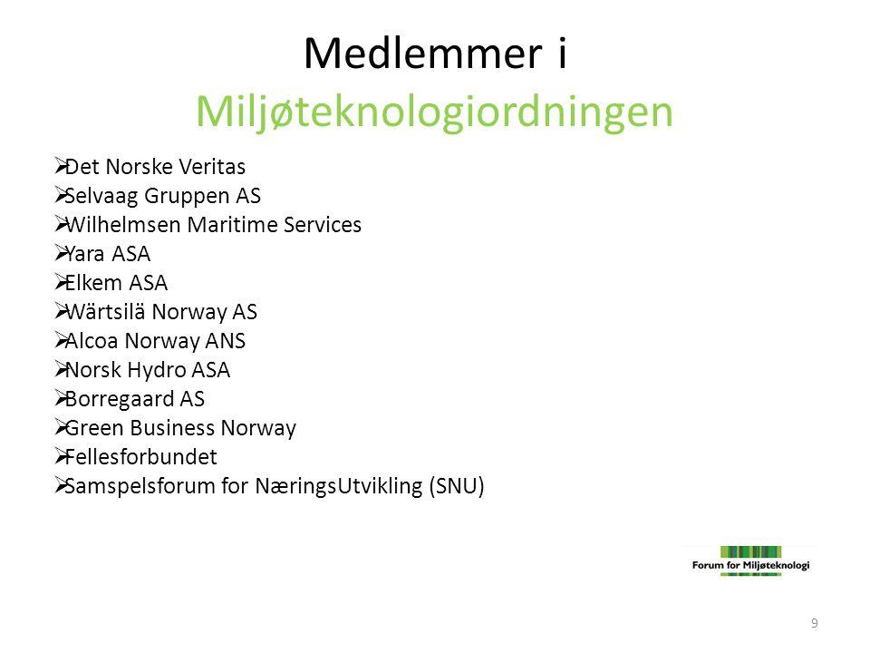 Medlemmer i Miljøteknologiordningen  Det Norske Veritas  Selvaag Gruppen AS  Wilhelmsen Maritime Services  Yara ASA  Elkem ASA  Wärtsilä Norway