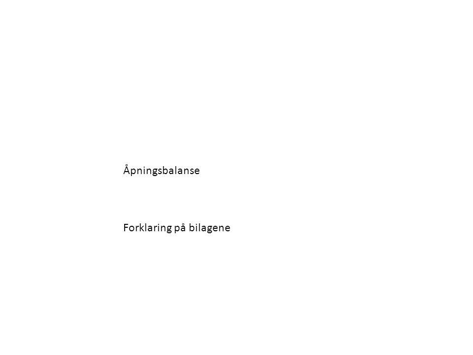Åpningsbalanse Forklaring på bilagene