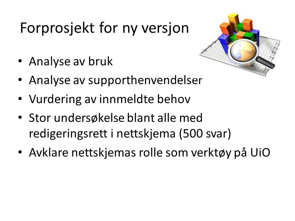 Forprosjekt for ny versjon • Analyse av bruk • Analyse av supporthenvendelser • Vurdering av innmeldte behov • Stor undersøkelse blant alle med redige