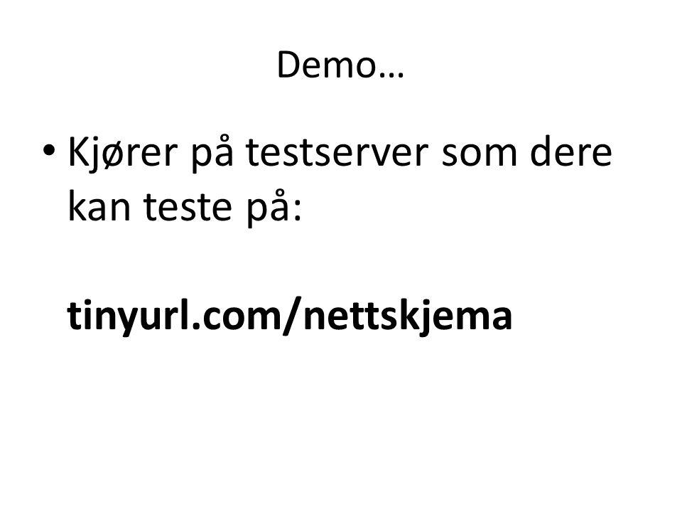 Demo… • Kjører på testserver som dere kan teste på: tinyurl.com/nettskjema