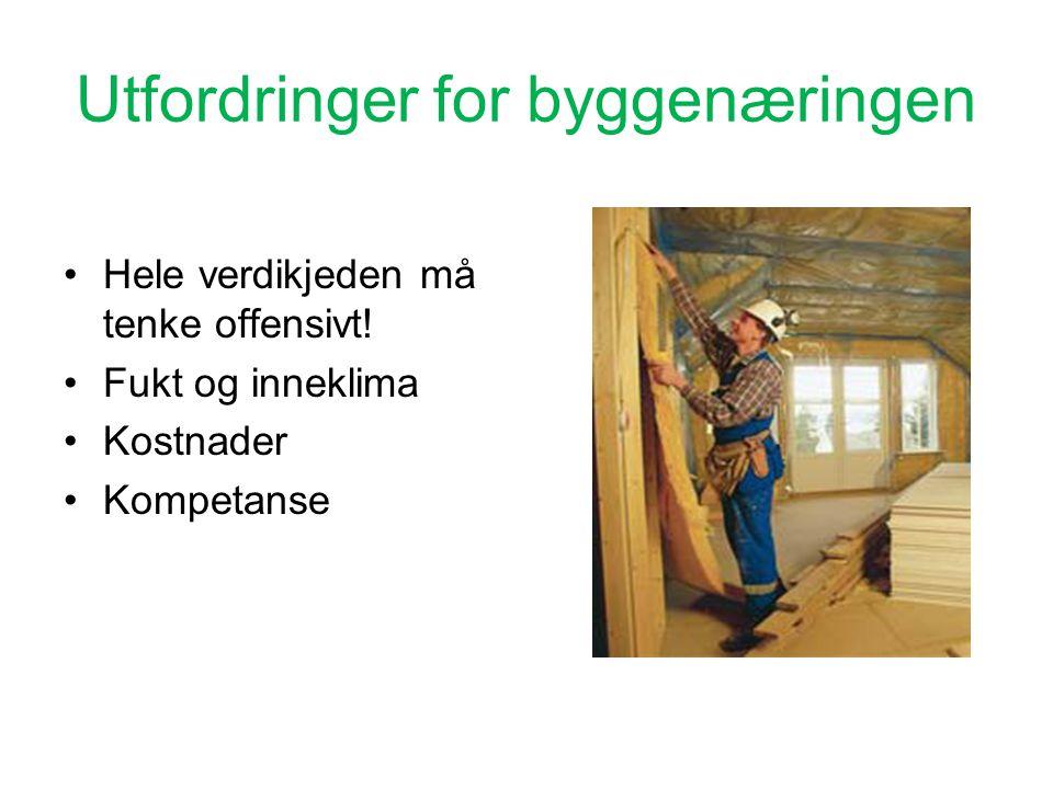 Utfordringer for byggenæringen •Hele verdikjeden må tenke offensivt.