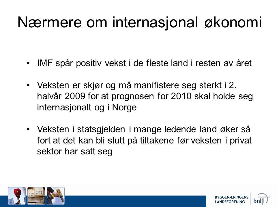 Nærmere om internasjonal økonomi •IMF spår positiv vekst i de fleste land i resten av året •Veksten er skjør og må manifistere seg sterkt i 2.