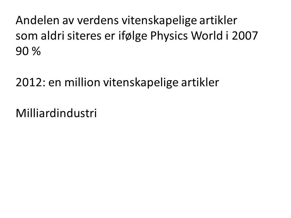 Andelen av verdens vitenskapelige artikler som aldri siteres er ifølge Physics World i 2007 90 % 2012: en million vitenskapelige artikler Milliardindustri