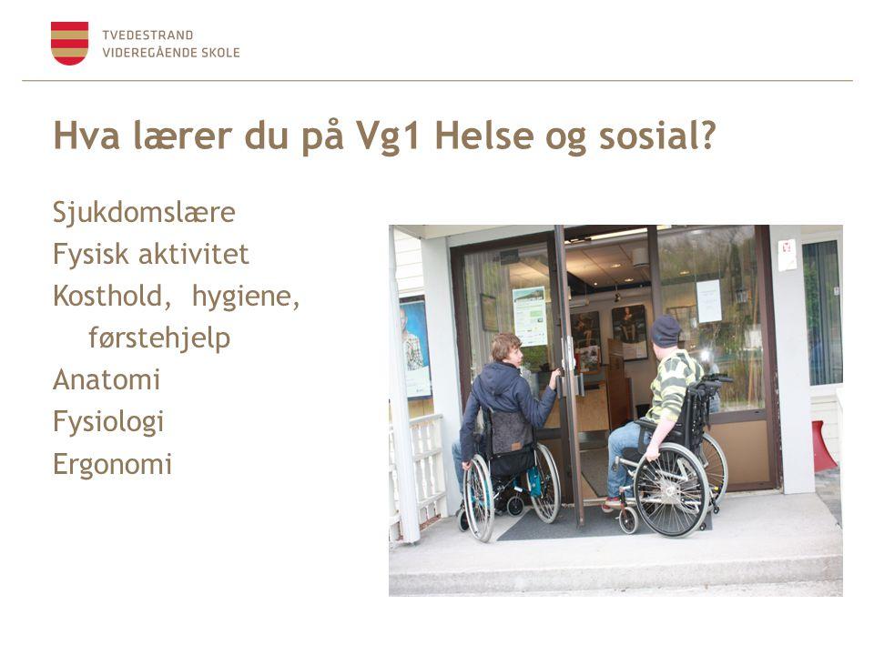 Sjukdomslære Fysisk aktivitet Kosthold, hygiene, førstehjelp Anatomi Fysiologi Ergonomi Hva lærer du på Vg1 Helse og sosial?