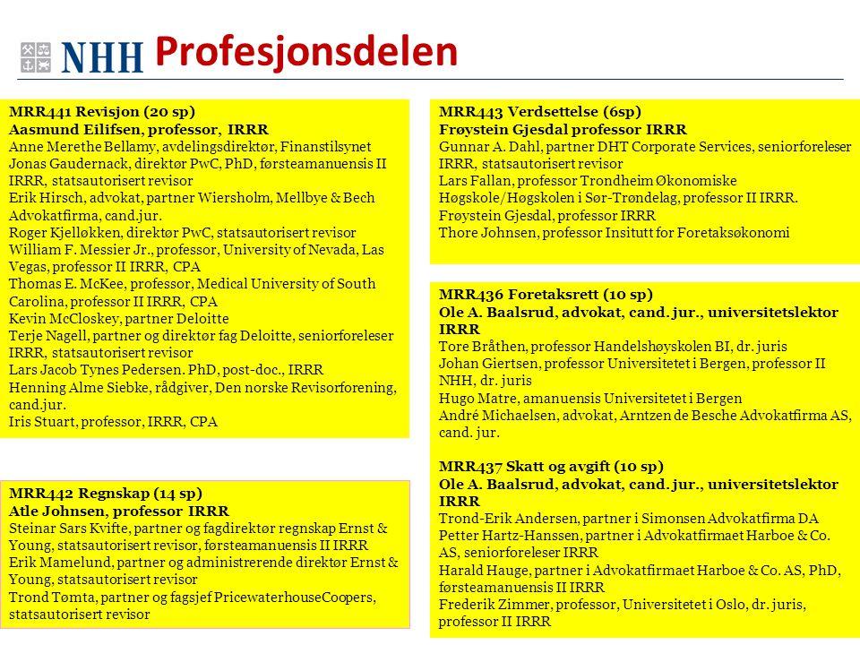 MRR436 Foretaksrett (10 sp) Ole A. Baalsrud, advokat, cand. jur., universitetslektor IRRR Tore Bråthen, professor Handelshøyskolen BI, dr. juris Johan