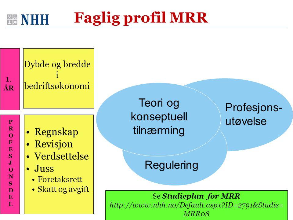 Faglig profil MRR Dybde og bredde i bedriftsøkonomi •Regnskap •Revisjon •Verdsettelse •Juss •Foretaksrett •Skatt og avgift Teori og konseptuell tilnær