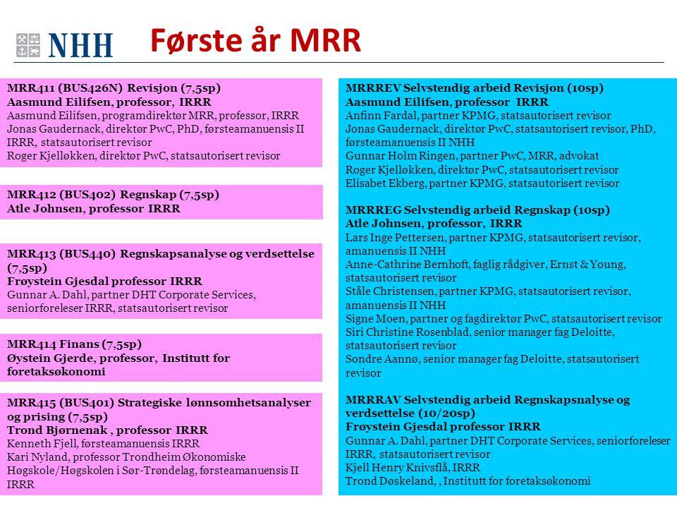MRRREV Selvstendig arbeid Revisjon (10sp) Aasmund Eilifsen, professor IRRR Anfinn Fardal, partner KPMG, statsautorisert revisor Jonas Gaudernack, dire