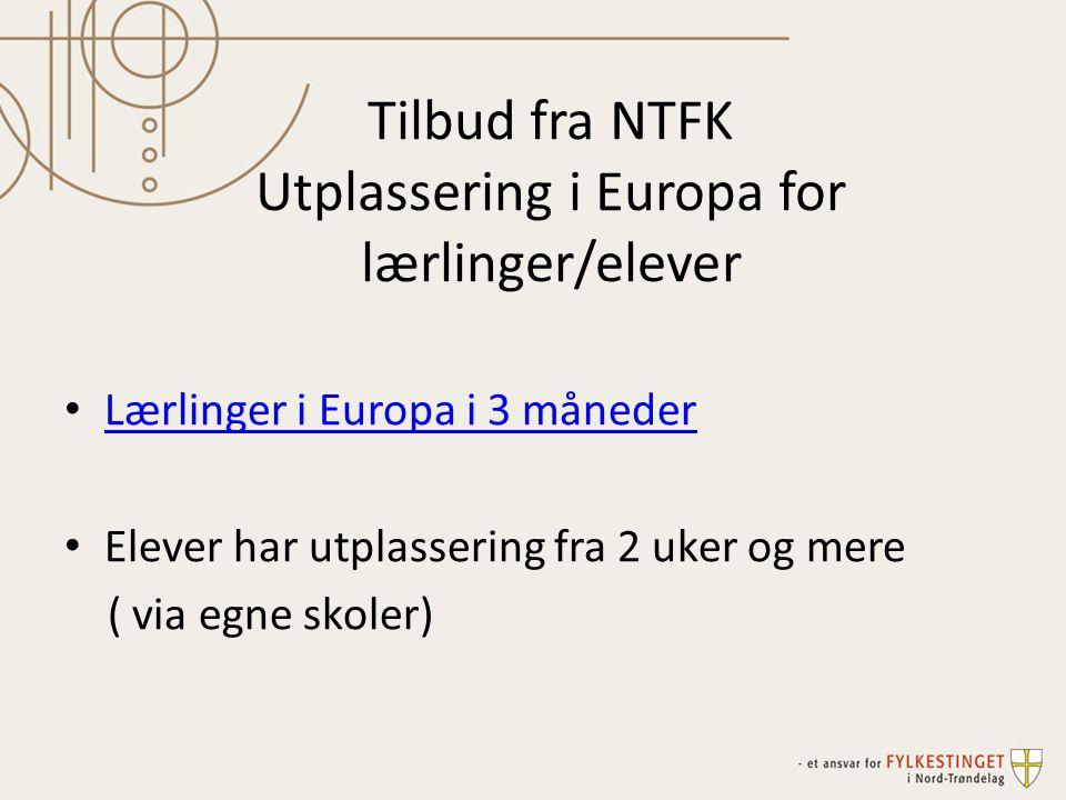 Tilbud fra NTFK Utplassering i Europa for lærlinger/elever • Lærlinger i Europa i 3 måneder Lærlinger i Europa i 3 måneder • Elever har utplassering f