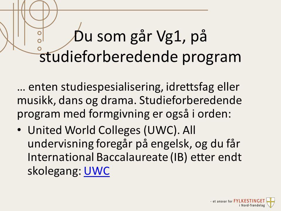 Du som går Vg1, på studieforberedende program … enten studiespesialisering, idrettsfag eller musikk, dans og drama. Studieforberedende program med for