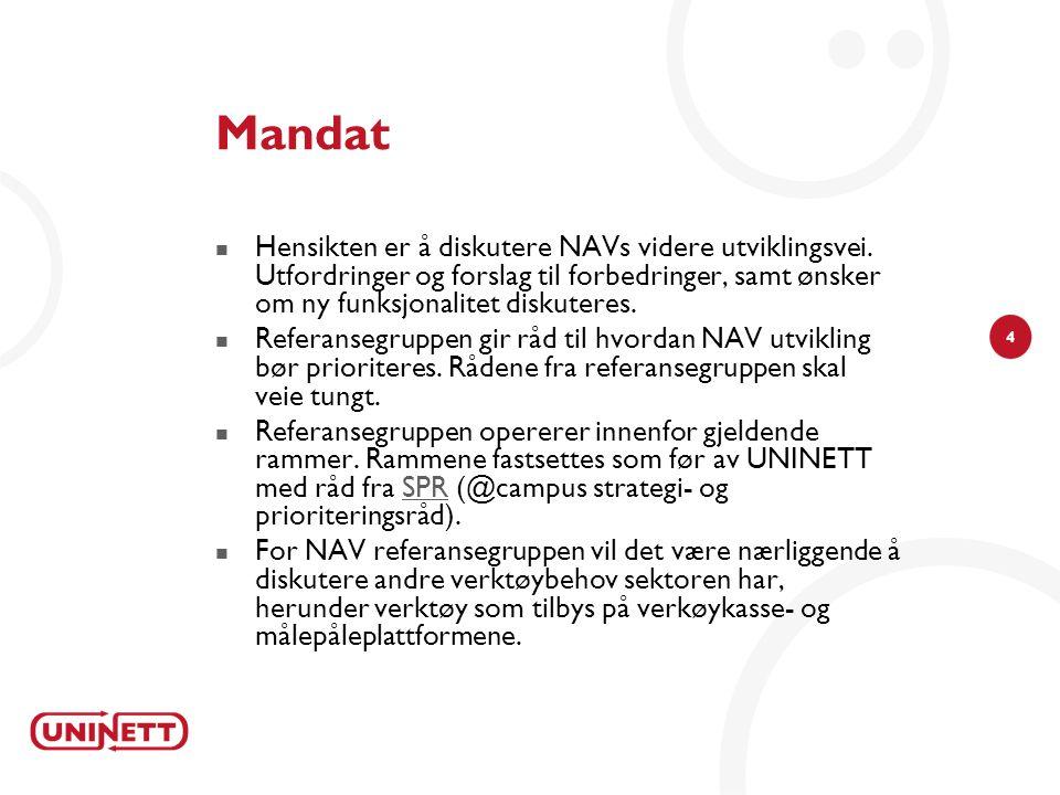 4 Mandat  Hensikten er å diskutere NAVs videre utviklingsvei. Utfordringer og forslag til forbedringer, samt ønsker om ny funksjonalitet diskuteres.