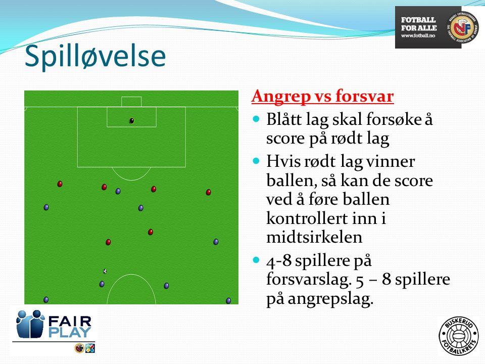 Spilløvelse Angrep vs forsvar  Blått lag skal forsøke å score på rødt lag  Hvis rødt lag vinner ballen, så kan de score ved å føre ballen kontroller