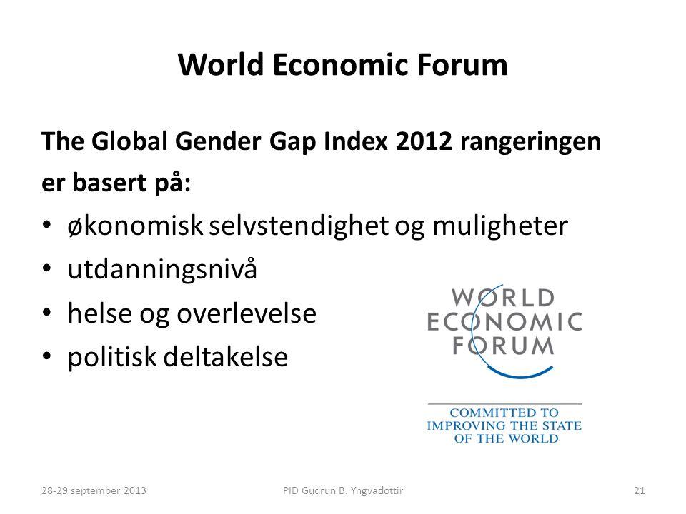 World Economic Forum The Global Gender Gap Index 2012 rangeringen er basert på: • økonomisk selvstendighet og muligheter • utdanningsnivå • helse og overlevelse • politisk deltakelse PID Gudrun B.