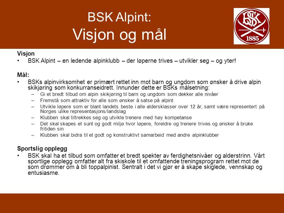 BSK Alpint: Teknisk trening Prosent av skitrening per disiplin 8 år og yngre 9 år10 år U12 (11år) U12 (12 år) U14U16 SSL100%80%70 %65% 50 % SL0 %20%30% 40 %35% SG0 % 5% 10 % Utfor0 % 5% Totalt100 %