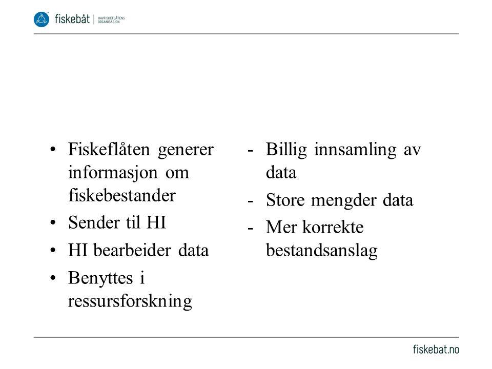 •Fiskeflåten generer informasjon om fiskebestander •Sender til HI •HI bearbeider data •Benyttes i ressursforskning -Billig innsamling av data -Store mengder data -Mer korrekte bestandsanslag