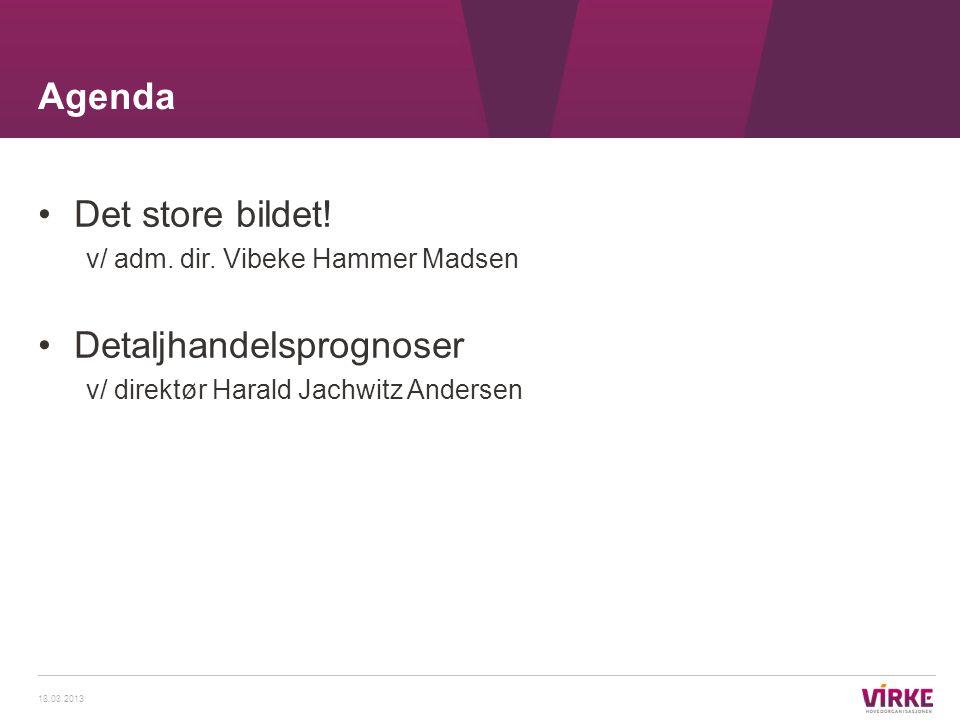 •Det store bildet! v/ adm. dir. Vibeke Hammer Madsen •Detaljhandelsprognoser v/ direktør Harald Jachwitz Andersen Agenda 18.03.2013