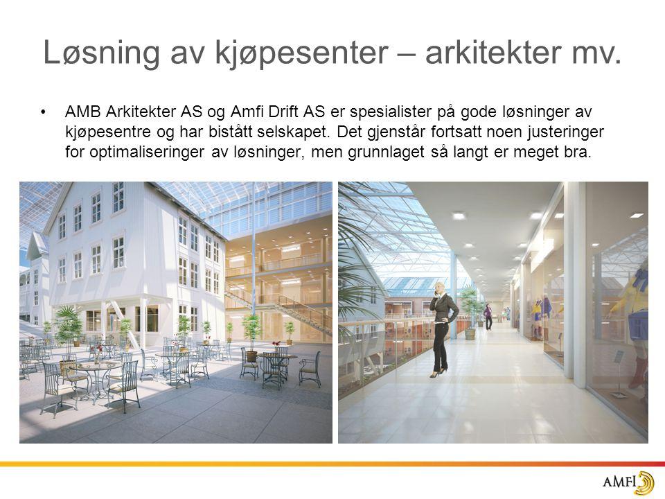 Løsning av kjøpesenter – arkitekter mv. •AMB Arkitekter AS og Amfi Drift AS er spesialister på gode løsninger av kjøpesentre og har bistått selskapet.
