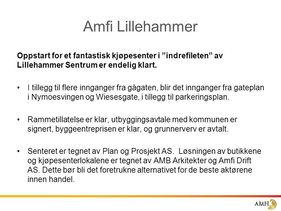 """Amfi Lillehammer Oppstart for et fantastisk kjøpesenter i """"indrefileten"""" av Lillehammer Sentrum er endelig klart. •I tillegg til flere innganger fra g"""