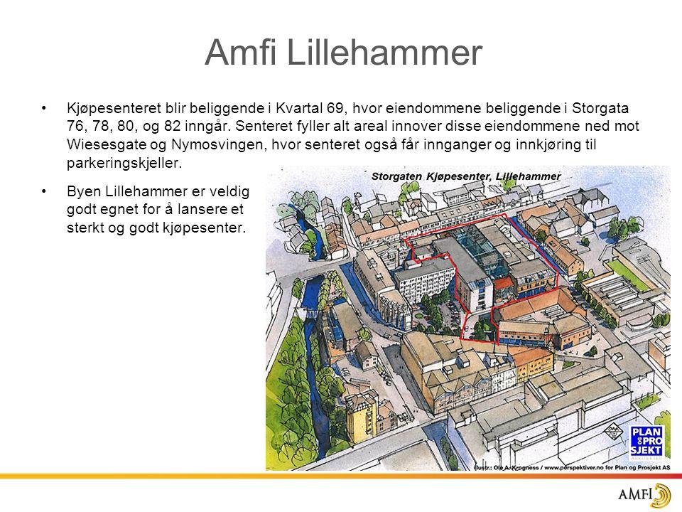 Amfi Lillehammer •Kjøpesenteret blir beliggende i Kvartal 69, hvor eiendommene beliggende i Storgata 76, 78, 80, og 82 inngår. Senteret fyller alt are