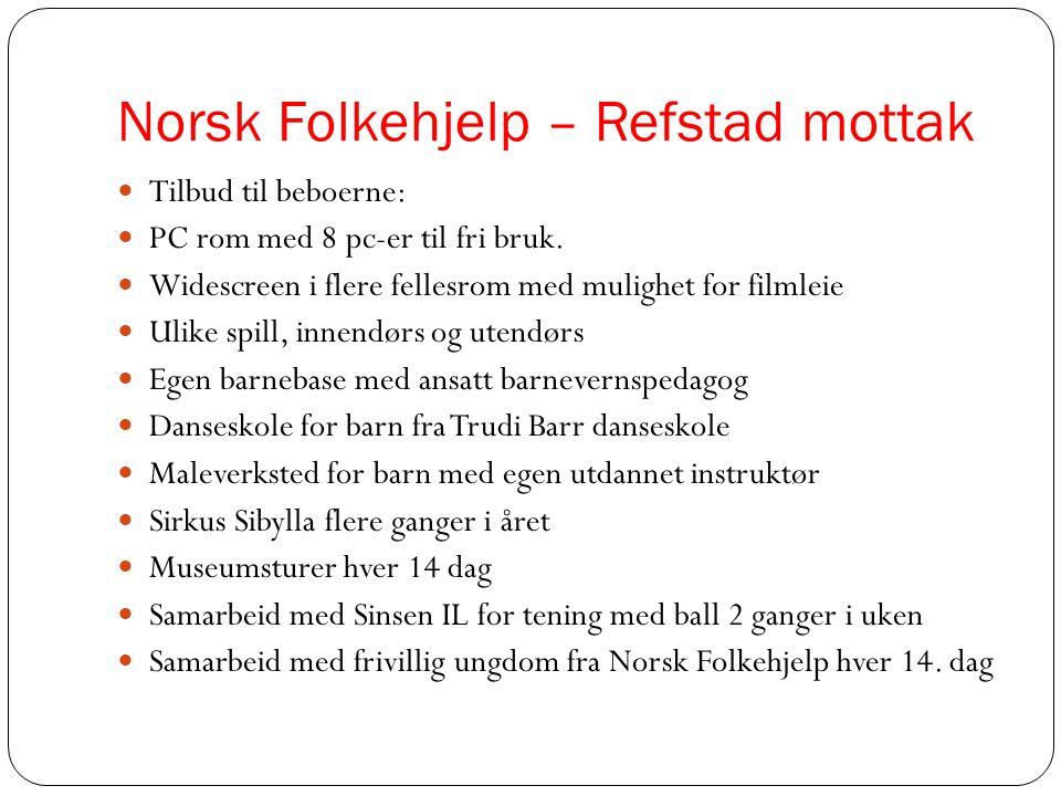 Norsk Folkehjelp – Refstad mottak  Tilbud til beboerne:  PC rom med 8 pc-er til fri bruk.  Widescreen i flere fellesrom med mulighet for filmleie 