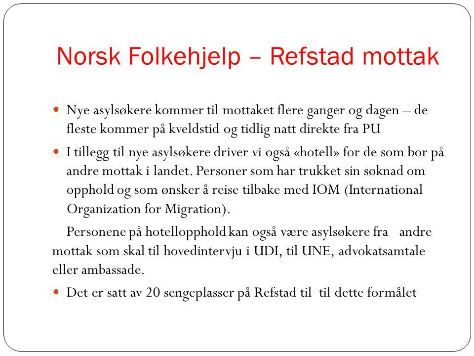 Norsk Folkehjelp – Refstad mottak  Nye asylsøkere kommer til mottaket flere ganger og dagen – de fleste kommer på kveldstid og tidlig natt direkte fr