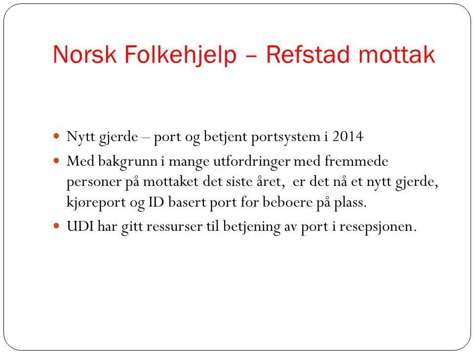 Norsk Folkehjelp – Refstad mottak  Nytt gjerde – port og betjent portsystem i 2014  Med bakgrunn i mange utfordringer med fremmede personer på motta