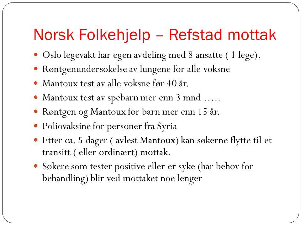 Norsk Folkehjelp – Refstad mottak  Oslo legevakt har egen avdeling med 8 ansatte ( 1 lege).  Røntgenundersøkelse av lungene for alle voksne  Mantou