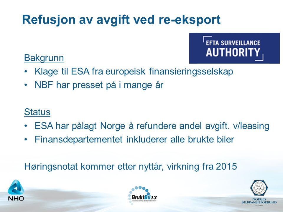 Refusjon av avgift ved re-eksport Bakgrunn •Klage til ESA fra europeisk finansieringsselskap •NBF har presset på i mange år Status •ESA har pålagt Nor