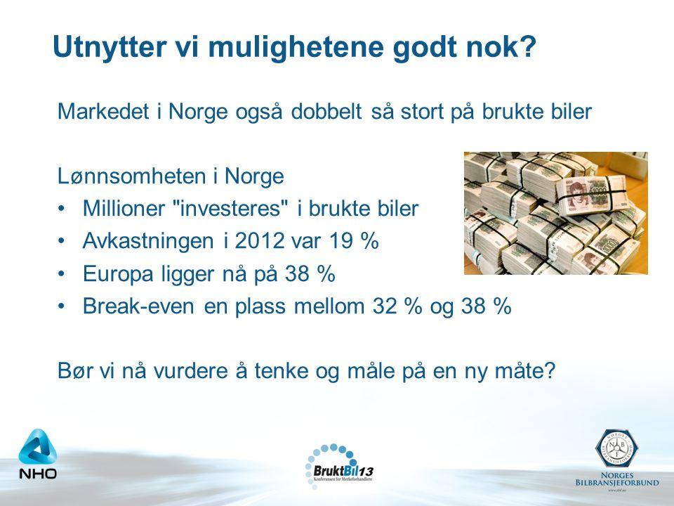 Utnytter vi mulighetene godt nok? Markedet i Norge også dobbelt så stort på brukte biler Lønnsomheten i Norge •Millioner