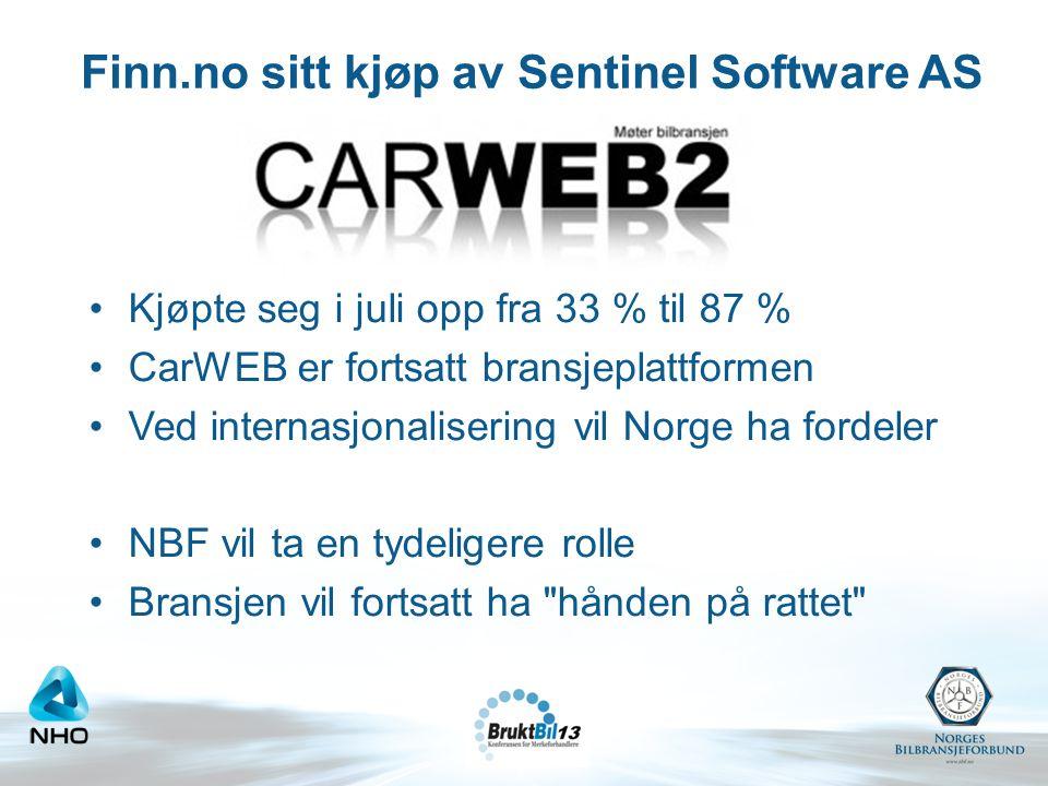 Finn.no sitt kjøp av Sentinel Software AS •Kjøpte seg i juli opp fra 33 % til 87 % •CarWEB er fortsatt bransjeplattformen •Ved internasjonalisering vi