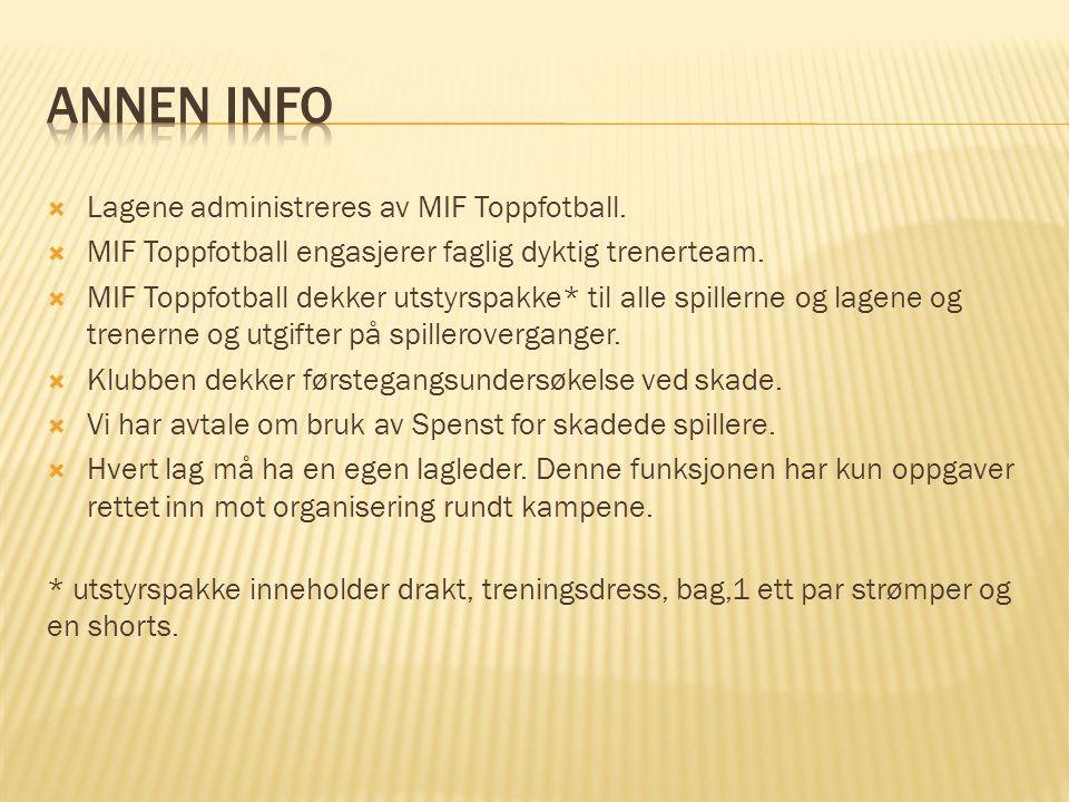  Lagene administreres av MIF Toppfotball.  MIF Toppfotball engasjerer faglig dyktig trenerteam.  MIF Toppfotball dekker utstyrspakke* til alle spil