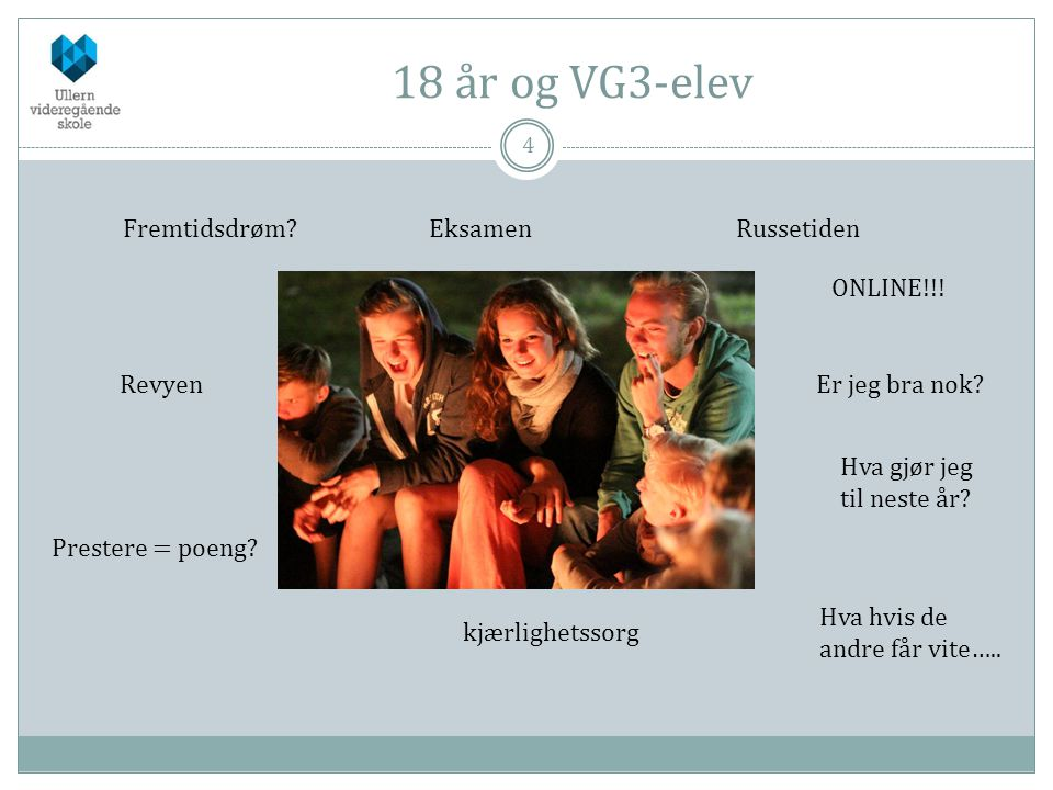 18 år og VG3-elev 4 Fremtidsdrøm?EksamenRussetiden Revyen kjærlighetssorg Prestere = poeng.