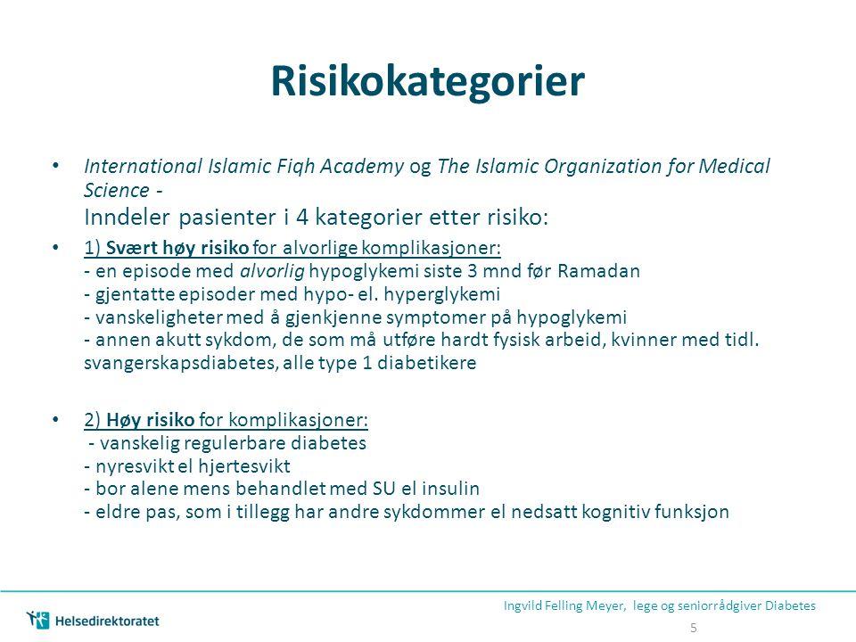 Risikokategorier • International Islamic Fiqh Academy og The Islamic Organization for Medical Science - Inndeler pasienter i 4 kategorier etter risiko