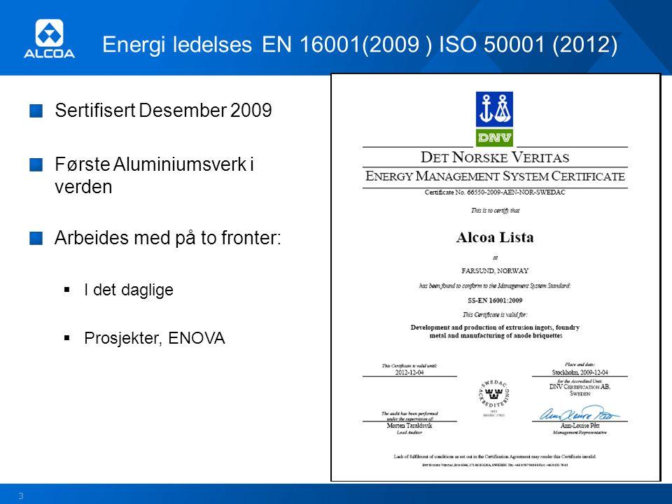 Energi ledelses EN 16001(2009 ) ISO 50001 (2012) Sertifisert Desember 2009 Første Aluminiumsverk i verden Arbeides med på to fronter:  I det daglige