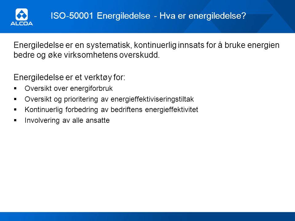 ISO-50001 Energiledelse - Hva er energiledelse? Energiledelse er en systematisk, kontinuerlig innsats for å bruke energien bedre og øke virksomhetens