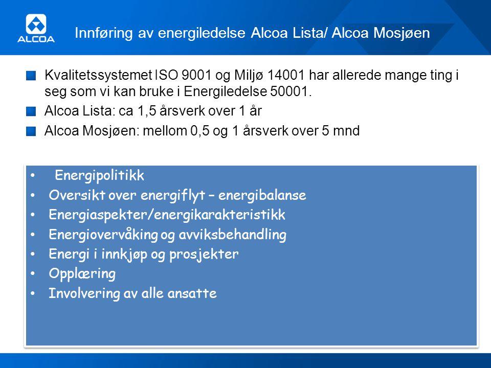 Innføring av energiledelse Alcoa Lista/ Alcoa Mosjøen Kvalitetssystemet ISO 9001 og Miljø 14001 har allerede mange ting i seg som vi kan bruke i Energ