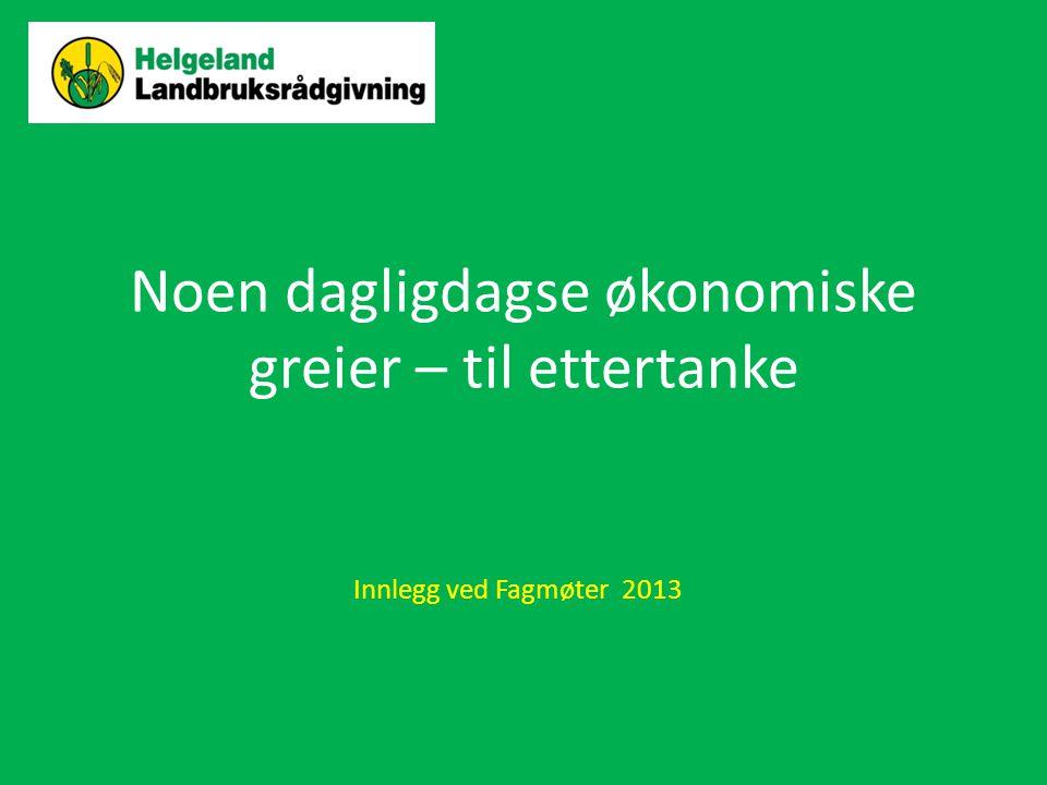 Noen dagligdagse økonomiske greier – til ettertanke Innlegg ved Fagmøter 2013