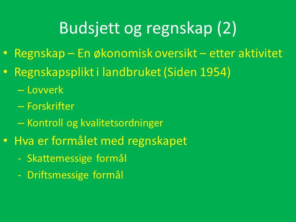 Budsjett og regnskap (2) • Regnskap – En økonomisk oversikt – etter aktivitet • Regnskapsplikt i landbruket (Siden 1954) – Lovverk – Forskrifter – Kontroll og kvalitetsordninger • Hva er formålet med regnskapet -Skattemessige formål -Driftsmessige formål