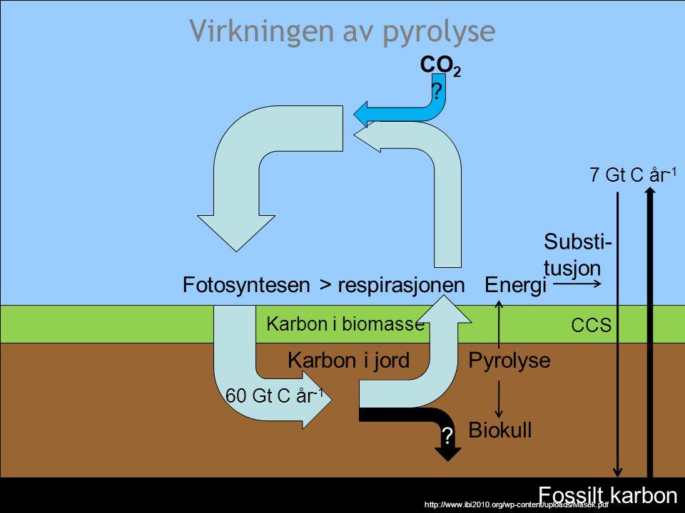 Virkningen av pyrolyse Karbon i biomasse Karbon i jord Fossilt karbon 7 Gt C år -1 60 Gt C år -1 Fotosyntesen > respirasjonen Biokull ? Pyrolyse CO 2