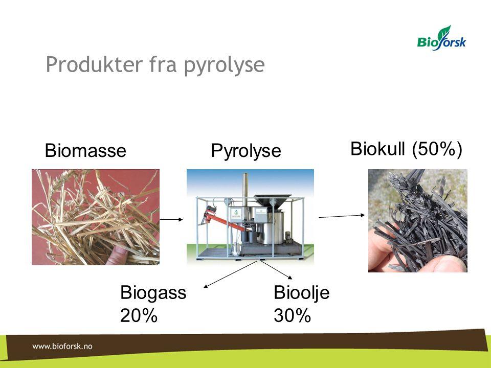 Biogass 20% Bioolje 30% Biokull (50%) BiomassePyrolyse Produkter fra pyrolyse