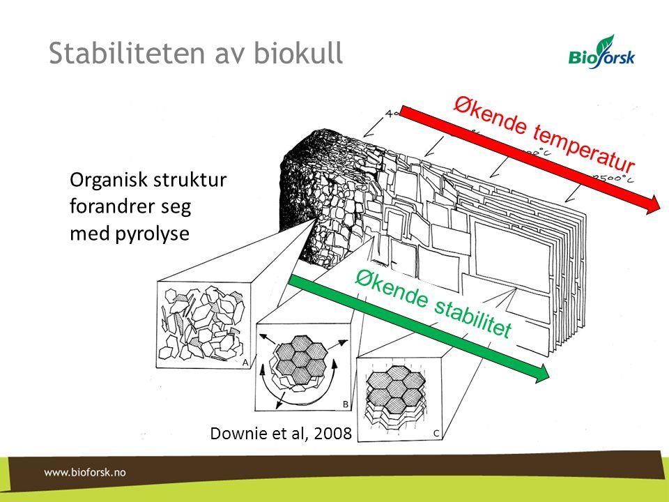 Organisk struktur forandrer seg med pyrolyse Downie et al, 2008 Økende temperatur Økende stabilitet Stabiliteten av biokull